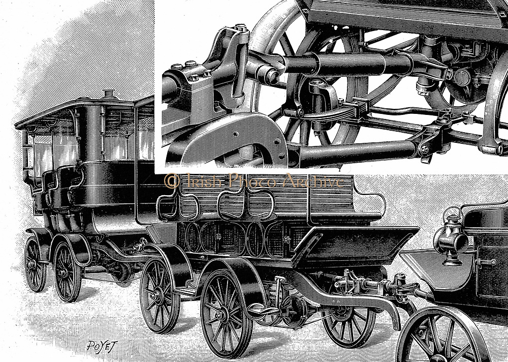 Renard's automobile train, showing coupling (top right) and train of wagons. 1904. Engraving