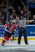 KELOWNA, CANADA - NOVEMBER 17: Dillon Dube #19 of the Kelowna Rockets skates behind refereee Colin Watt after scoring a goal against the Lethbridge Hurricanes on November 17, 2017 at Prospera Place in Kelowna, British Columbia, Canada.  (Photo by Marissa Baecker/Shoot the Breeze)  *** Local Caption ***