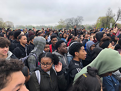 April 30, 2019 - Chicago, IL, USA - Hundreds of Homewood-Flossmoor students spilled out of their school just after noon in Chicago on April 30, 2019, to protest the school/s handling of a blackface incident involving white students. (Credit Image: © TNS via ZUMA Wire)