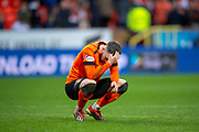 Nicky Clark (#10) of Dundee United FC has his head in his hands at the final whistle of the William Hill Scottish Cup quarter final match between Dundee United and Inverness CT at Tannadice Park, Dundee, Scotland on 3 March 2019.