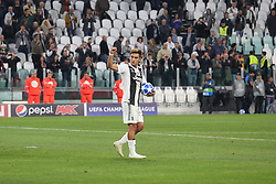 October 2, 2018 - Turin, Piedmont, Italy - Paulo Dybala (Juventus FC)  celebrates the victory after the Juventus FC UEFA Champions League match between Juventus FC and Berner Sport Club Young Boys at Allianz Stadium on October 02, 2018 in Turin, Italy..Juventus won 3-0 over Young Boys. (Credit Image: © Massimiliano Ferraro/NurPhoto/ZUMA Press)
