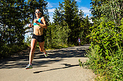 Lindsay Carson pushes the pace during a road race on July 5, 2016 in Whitehorse, Yukon.