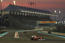 13.11.2011, Yas-Marina-Circuit, Abu Dhabi, UAE, Grosser Preis von Abu Dhabi, im Bild DHL Branding - Fernando Alonso (ESP), Scuderia Ferrari  // during the Formula One Championships 2011 Large price of Abu Dhabi held at the Yas-Marina-Circuit, 2011/11/13. EXPA Pictures © 2011, PhotoCredit: EXPA/ nph/ Dieter Mathis..***** ATTENTION - OUT OF GER, CRO *****