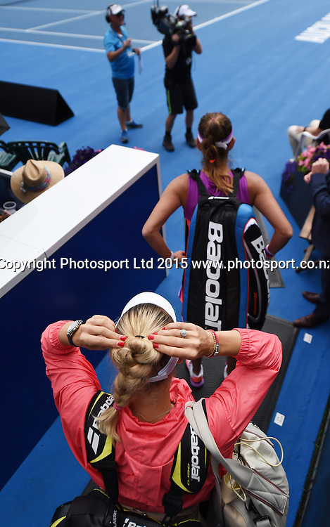 Denmark's Caroline Wozniacki waits to go onto court for her Quarter Final match at the ASB Classic WTA International. ASB Tennis Centre, Auckland, New Zealand. Thursday 8 January 2015. Copyright photo: Andrew Cornaga/www.photosport.co.nz