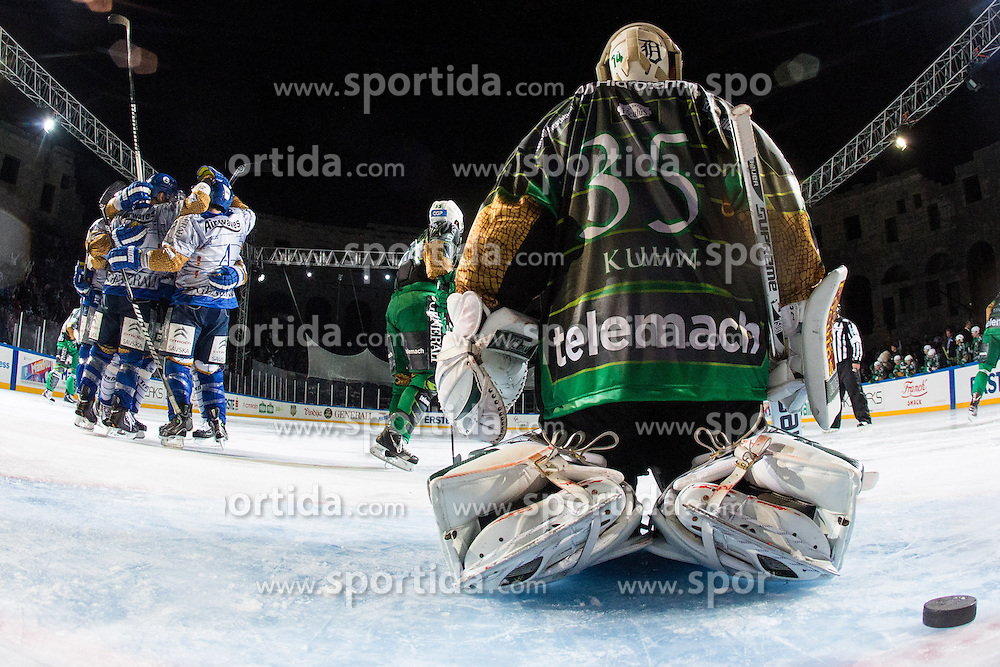 14.09.2012. Pula Arena, Pula, CRO, EBEL, KHL Medvescak Zagreb vs HDD Telemach Olimpija Ljubljana, 03. Runde, in picture Players of KHL Medvescak celebrate scoring the goal and Jerry Kuhn (HDD Telemach Olimpija, #35) with the puck during the Erste Bank Icehockey League 3rd Round match between KHL Medvescak Zagreb and HDD Telemach Olimpija Ljubljana at the Pula Arena, Pula, Croatia on 2012/09/14. (Photo By Matic Klansek Velej / Sportida)