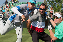 July 15, 2018 - Stateline, Nevada, U.S - KEVIN NEALON, JOHNNY DAMON and GARY LEVOX goof around before tee time at the 29th annual American Century Championship at the Edgewood Tahoe Golf Course at Lake Tahoe, Stateline, Nevada, on Sunday, July 15, 2018. (Credit Image: © Tracy Barbutes via ZUMA Wire)