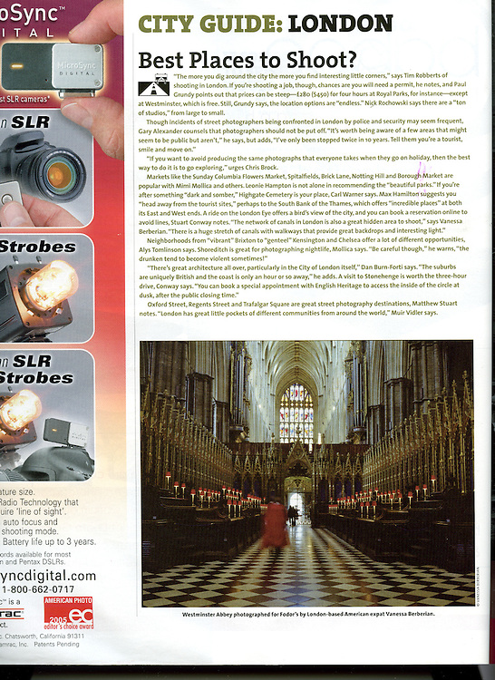 PDN Story on London featuring work from a commission by Fodor's.