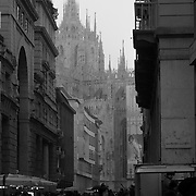 Distant view of Duomo di Milano, Milan, Italy, A series of captures from a personal trip to the cities of Milan and Mantua, featuring explorations of Renaissance architecture and the vibrant life of Italian streets.