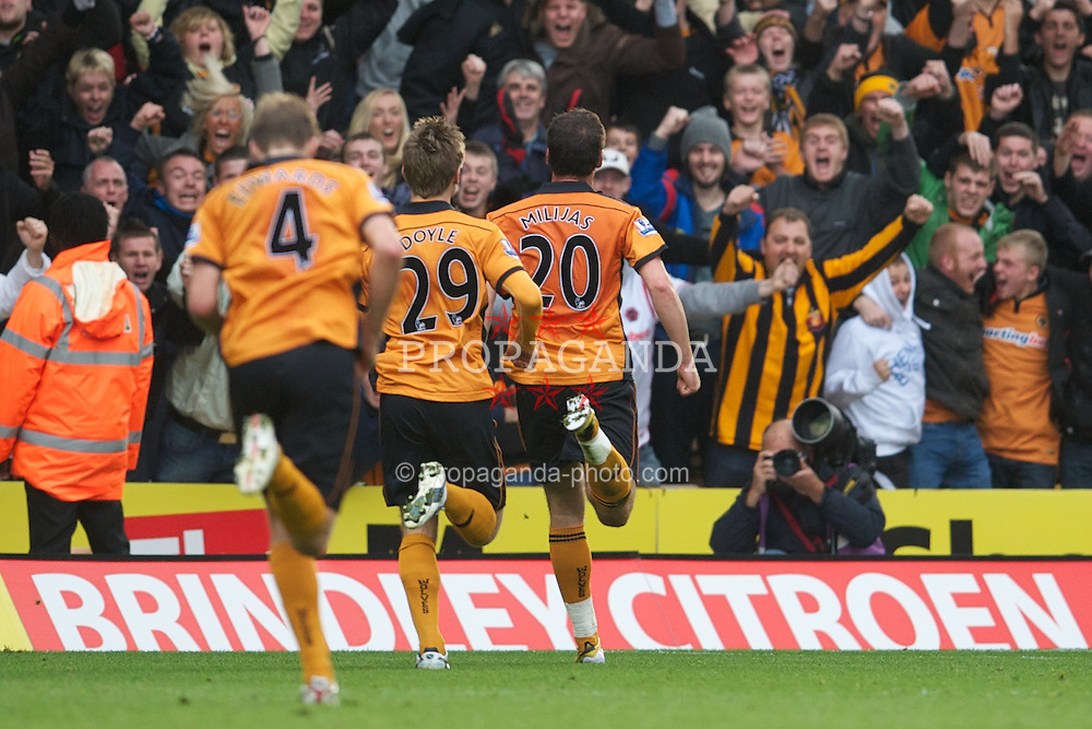 WOLVERHAMPTON, ENGLAND - Saturday, October 30, 2010: Wolverhampton Wanderers' Nenad Milijas celebrates scoring the first equalising goal against Manchester City during the Premiership match at Molineux. (Pic by: David Rawcliffe/Propaganda)