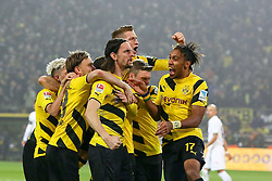 13.02.2015, Signal Iduna Park, Dortmund, GER, 1. FBL, Borussia Dortmund vs 1. FSV Mainz 05, 21. Runde, im Bild Dortmunder Torjubel nach dem 1:1 von Neven Subotic (Borussia Dortmund #4 - mitte) mit Marco Reus (Borussia Dortmund #11) und Pierre-Emerick Aubameyang (Borussia Dortmund #17 - rechts) // during the German Bundesliga 21th round match between Borussia Dortmund and 1. FSV Mainz 05 at the Signal Iduna Park in Dortmund, Germany on 2015/02/13. EXPA Pictures © 2015, PhotoCredit: EXPA/ Eibner-Pressefoto/ Schüler<br /> <br /> *****ATTENTION - OUT of GER*****