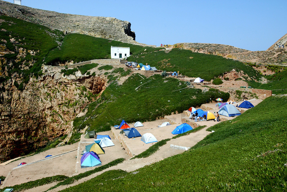 """Camping Park at Berlenga island, a marine reserve and classified by the Council of Europe as a """"Biosphere Reserve"""",  is now becoming an environmentally sustainable island from power generation, water, wastewater and solid waste treatment/recycle to reducing pollution at the source. This portuguese atlantic archipelago consists of a large island,  Berlenga Grande, rose granite made, and some small islands and rocks (Estelas and Farilhões), which are situated some 15 km off the headland of Cabo Carvoeiro to the north-west of Peniche, which is about 100 km north of Lisbon  .PHOTO PAULO CUNHA/4SEE"""