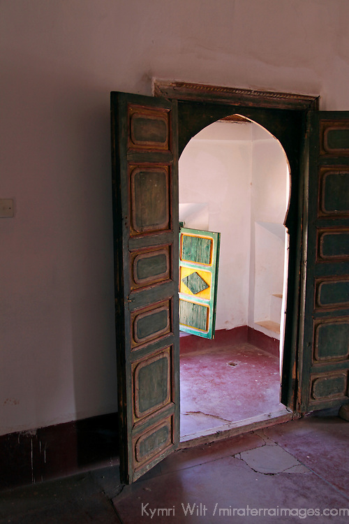 Africa, Morocco, Ouarzazate. Doors of  Taourirt Kasbah, historical palace partially restored by UNESCO.