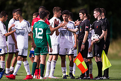 WREXHAM, WALES - Thursday, August 15, 2019: Cyprus and Malta players shake hands with officials after the UEFA Under-15's Development Tournament match between Cyprus and Malta at Colliers Park. (Pic by Paul Greenwood/Propaganda)