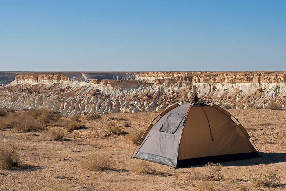 A tent overlooks the rarely visited Yangikala Canyon in northern Turkmenistan near the Caspian Sea