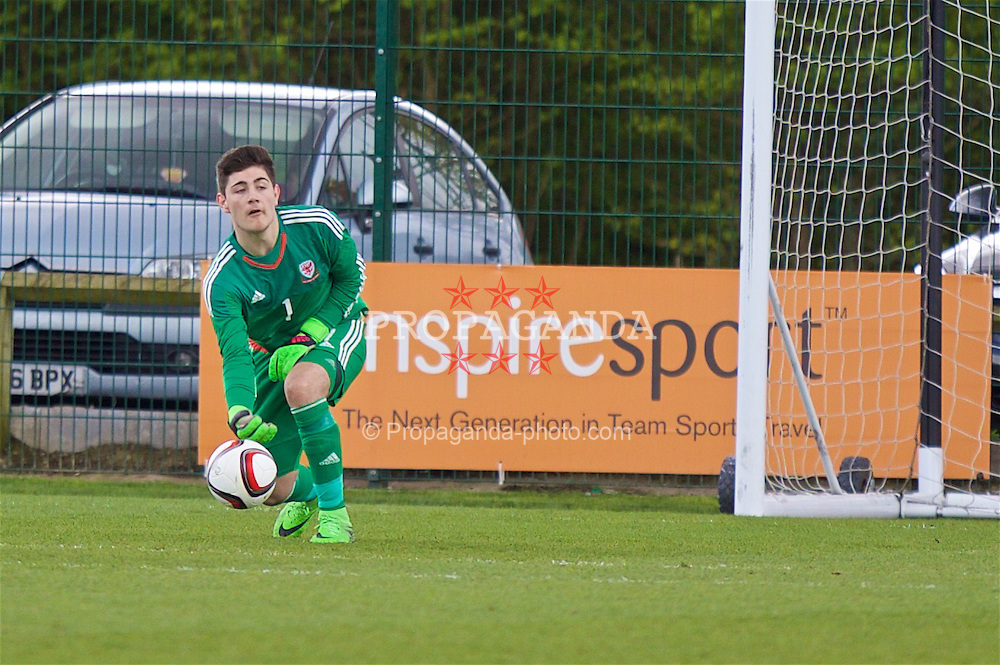 NEWPORT, WALES - Tuesday, April 26, 2016: Wales' goalkeeper Scott Reed in action against Belgium during the Boys U15's Tri-Nations Tournament match at Dragon Park. (Pic by Mark Hawkins/Propaganda)