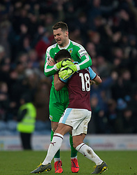 Thomas Heaton (L) and Ashley Westwood of Burnley celebrates Ashley Barnes' late penalty - Mandatory by-line: Jack Phillips/JMP - 02/02/2019 - FOOTBALL - Turf Moor - Burnley, England - Burnley v Southampton - English Premier League