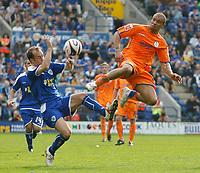 Photo: Steve Bond/Richard Lane Photography. <br />Leicester City v Sheffield Wednesday. Coca-Cola Championship. 26/04/2008. Deon Burton (R) and Jamie Clapham (L) go for the ball
