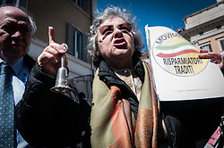 March 28, 2019 - Rome, Itsly, Italy - People of Movement of Cheated Savers protest in Montecitorio, Rome, Italy, on March 28, 2019 demanding the implementation of compensation fund savers. (Credit Image: © Andrea Ronchini/NurPhoto via ZUMA Press)