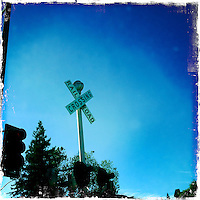 2013 May 13: Railroad Crossing sign Heldsburg, Sonoma wine country iphone Hipsta.