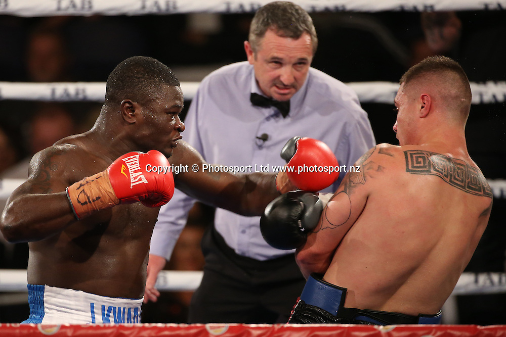 Undercard fight bout three Joseph Kwadjo (L) v Nik Charalampous  at the Burger King Road to the Title by Duco Boxing. Saturday 21 May 2016. Auckland, New Zealand. © Copyright Photo: Fiona Goodall / www.photosport.nz