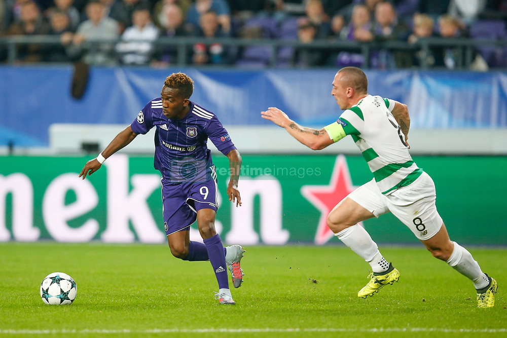 September 27, 2017 - Brussels, BELGIUM - Anderlecht's Henry Onyekuru and Celtic's Scott Brown fight for the ball during the second game in the group stage (Group B) of the UEFA Champions League competition between Belgian soccer team RSC Anderlecht and Scottish Celtic FC, Wednesday 27 September 2017 in Brussels. BELGA PHOTO BRUNO FAHY (Credit Image: © Bruno Fahy/Belga via ZUMA Press)
