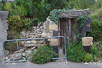Overgrown ruins of abandonded house with old wooden door in the city of Pont-du-Chateau, Auvergne, France.