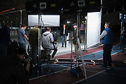 Portrait and behind the scenes photos of Mitt Romney's announcement for U.S. Senate.