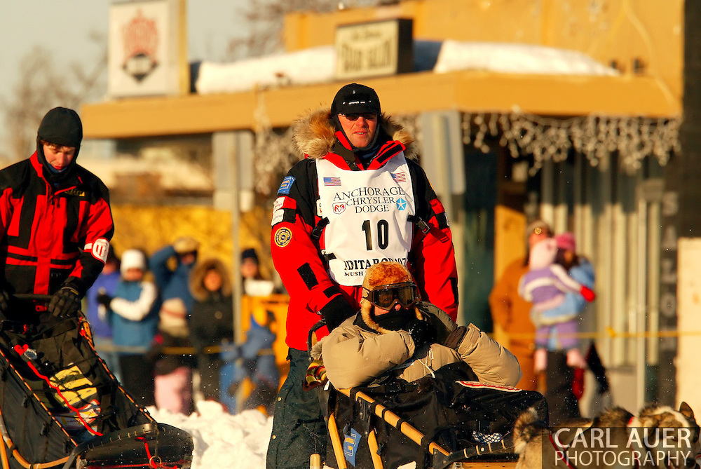 3/3/2007:  Anchorage Alaska -  VVeteran Paul Gebhardt of Kasilof, AK heads down 4th Avenue in Anchorage for the start of the 35th Iditarod Sled Dog Race