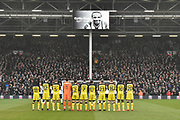 Burton Albion squad applaud in memory of Cyrille Regis during the EFL Sky Bet Championship match between Fulham and Burton Albion at Craven Cottage, London, England on 20 January 2018. Photo by Richard Holmes.