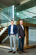 Mark Murray (left) and Scott Smithers of Lane Partners pose for a portrait at 110 Holger Way in San Jose, California, on August 28, 2018. (Stan Olszewski for Silicon Valley Business Journal)