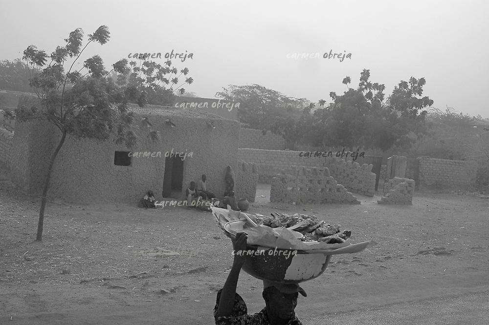 meat seller during Harmattam wind