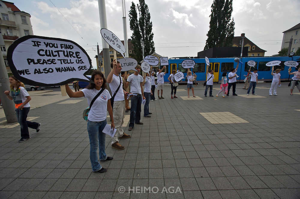 documenta12. Protest against documenta in front of Stadthalle.