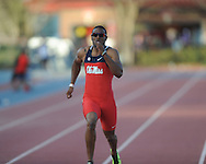 Isiah Young runs the 200 meters at the Ole Miss Invitational Track Meet in Oxford, Miss. on Saturday, April 13, 2013.
