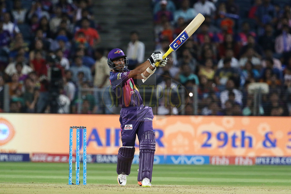 Ajinkya Rahane of Rising Pune Supergiant plays a shot during match 30 of the Vivo 2017 Indian Premier League between the Rising Pune Supergiants and the Kolkata Knight Riders  held at the MCA Pune International Cricket Stadium in Pune, India on the 26th April 2017<br /> <br /> Photo by Vipin Pawar- IPL - Sportzpics
