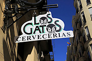 Sign for famous historic Los Gatos Cervecerias bar, Madrid city centre, Spain