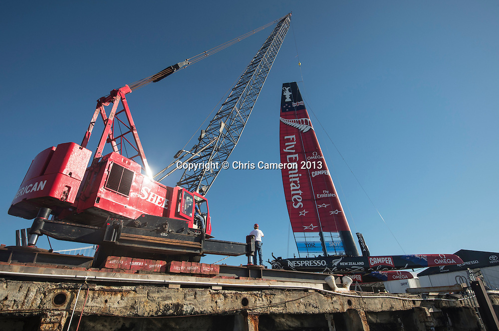 Emirates Team New Zealand launch NZL5 for day 13 of America's Cup 34. 23/9/2013