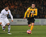 Cambridge United Ryan Donaldson pushing forward during the The FA Cup match between Cambridge United and Manchester United at the R Costings Abbey Stadium, Cambridge, England on 23 January 2015. Photo by Phil Duncan.