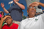 Photo by Kevin Riddell.Glory Leahr, and her grandson Tyree Golightly cheer on the Bobcats in Peden Stadium on Saturday, September 29, 2007.