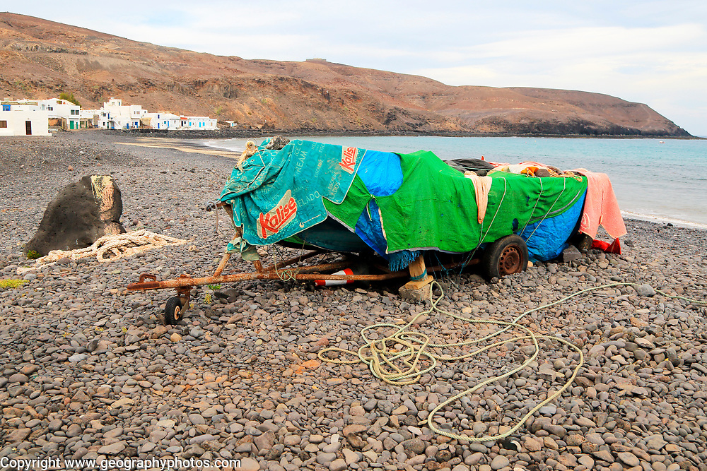 Fishing boat on beach at Pozo Negro, Fuerteventura, Canary Islands, Spain