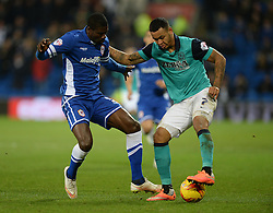 Blackburn Rovers's Joshua King and Cardiff City's Bruno Ecuele Manga Battles for the ball.  - Photo mandatory by-line: Alex James/JMP - Mobile: 07966 386802 - 17/02/2015 - SPORT - Football - Cardiff - Cardiff City Stadium - Cardiff City v Blackburn Rovers - Sky Bet Championship