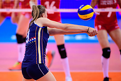 12.06.2018, Porsche Arena, Stuttgart<br /> Volleyball, Volleyball Nations League, Türkei / Tuerkei vs. Niederlande<br /> <br /> Annahme Nika Daalderop (#9 NED)<br /> <br /> Foto: Conny Kurth / www.kurth-media.de