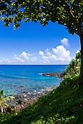 Blue Pacific waters at Hideaways Beach, Princeville, Island of Kauai, Hawaii