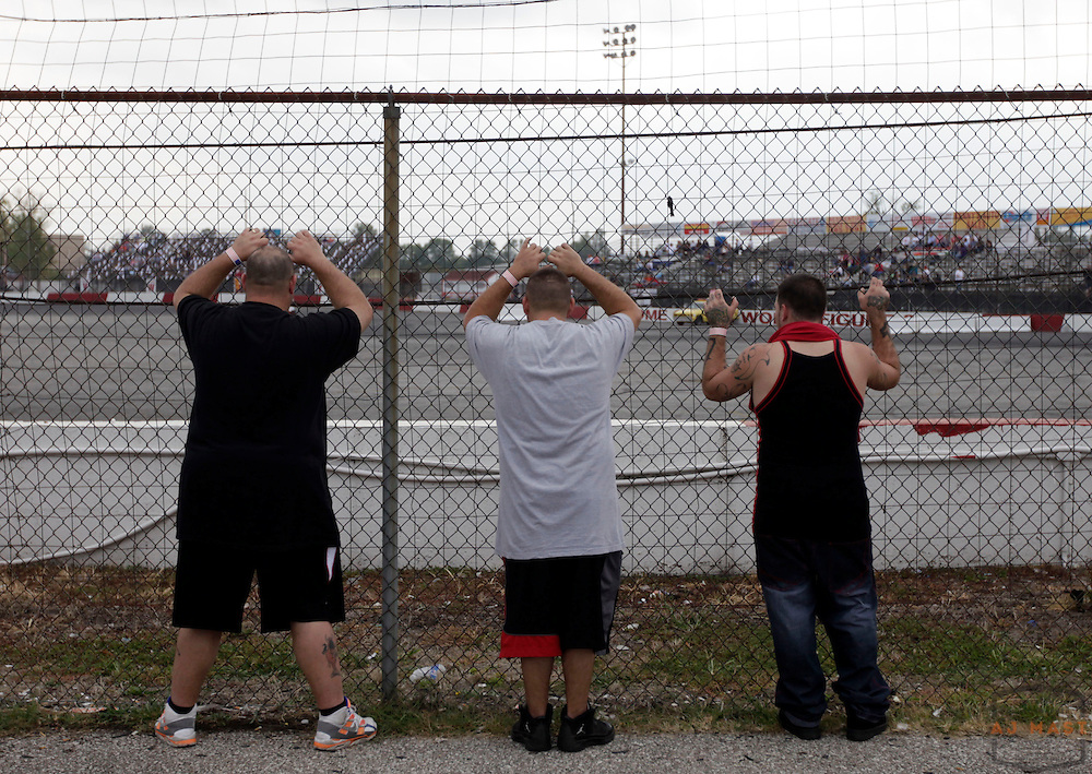 11 September 2010: Fans watch the final qualification session before the 34th Annual World Figure 8 Championship at the Speedrome in Indianapolis, Saturday, Sept. 11, 2010.