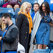 2019 US Open Tennis Tournament- Day Thirteen.  Meghan Markle, Duchess of Sussex with publicist Jill Smoller as she arrives at the team box to watch Serena Williams of the United States in action against Bianca Andreescu of Canada in the Women's Singles Final on Arthur Ashe Stadium during the 2019 US Open Tennis Tournament at the USTA Billie Jean King National Tennis Center on September 7th, 2019 in Flushing, Queens, New York City.  (Photo by Tim Clayton/Corbis via Getty Images)