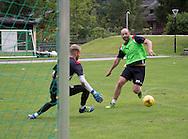Gary Harkins takes on Dundee keeper Scott Bain  - Day 4 of Dundee FC pre-season training camp in Obertraun, Austria<br /> <br />  - &copy; David Young - www.davidyoungphoto.co.uk - email: davidyoungphoto@gmail.com