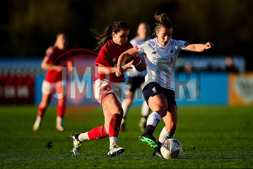 Megan Wynne of Bristol City Women challenges Becky Jane of Liverpool Women - Mandatory by-line: Ryan Hiscott/JMP - 19/01/2020 - FOOTBALL - Stoke Gifford Stadium - Bristol, England - Bristol City Women v Liverpool Women - Barclays FA Women's Super League