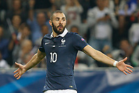 Karim Benzema jubilates after his goal during the International friendly game 2015 football match between France and Armenia on October 8, 2015 at Allianz Riviera of Nice, France. Photo Philippe Laurenson / DPPI