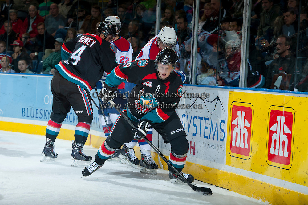 KELOWNA, CANADA - NOVEMBER 9: Zach Franko #9 of the Kelowna Rockets skates with the puck against the Edmonton Oil Kings on November 9, 2013 at Prospera Place in Kelowna, British Columbia, Canada.   (Photo by Marissa Baecker/Shoot the Breeze)  ***  Local Caption  ***
