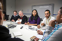 NITV Australian National Indigenous Television Story.<br />  Journalist and presenter Ryan Liddle first right next to left Angela Bates, executive producer and Chief of Staff Michael Carey in morning news conference.