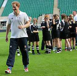Prince Harry poses during a Rugby Football Union schools coaching session at Twickenham Stadium in London, United Kingdom, Thursday, 17th October 2013. Picture by Stephen Lock / i-Images